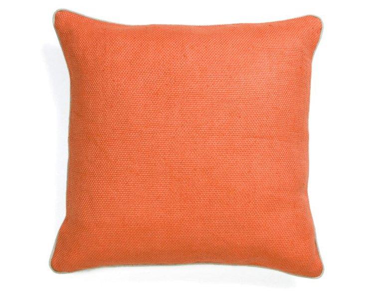 Basket Weave 22x22 Linen Pillow, Orange