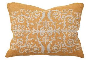 Scroll 12x16 Linen Pillow, Golden Orange