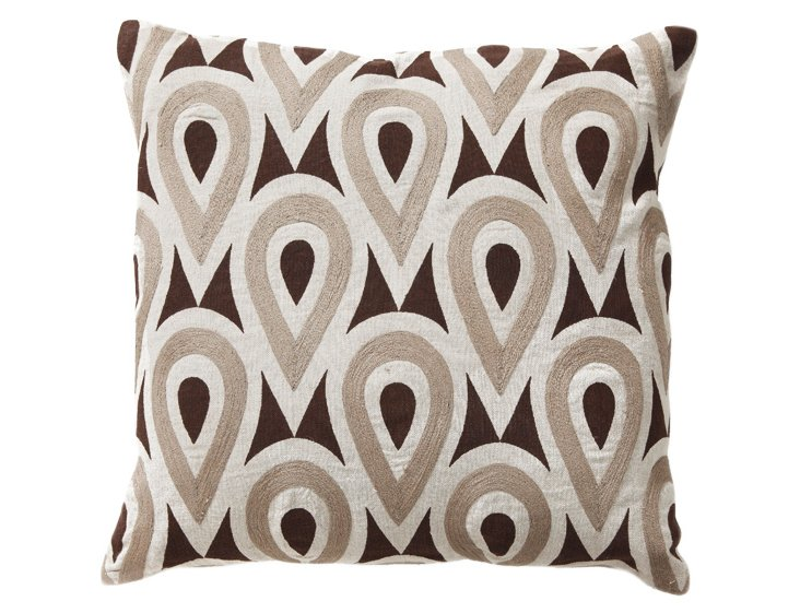 Gumdrop 18x18 Linen Pillow, Brown