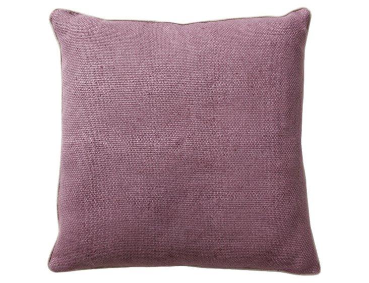 Willow 22x22 Cotton-Blend Pillow, Plum