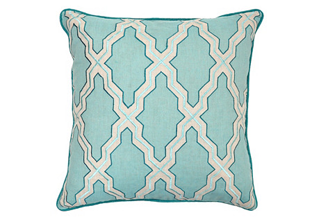 Claire 22x22 Cotton-Blended Pillow, Blue