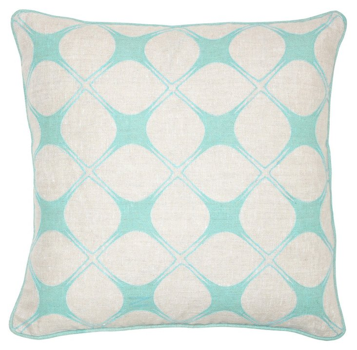 Stargazer 18x18 Linen Pillow, Turquoise