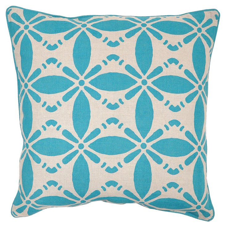 Koro 22x22 Linen Pillow, Teal