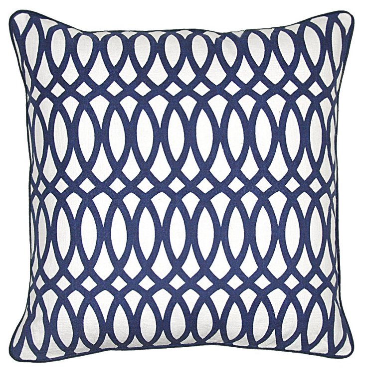 Trellis 22x22 Cotton Pillow, Navy