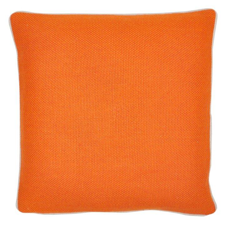 Piping 20x20 Linen Pillow, Orange