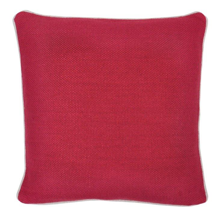 Piping 20x20 Linen Pillow, Red