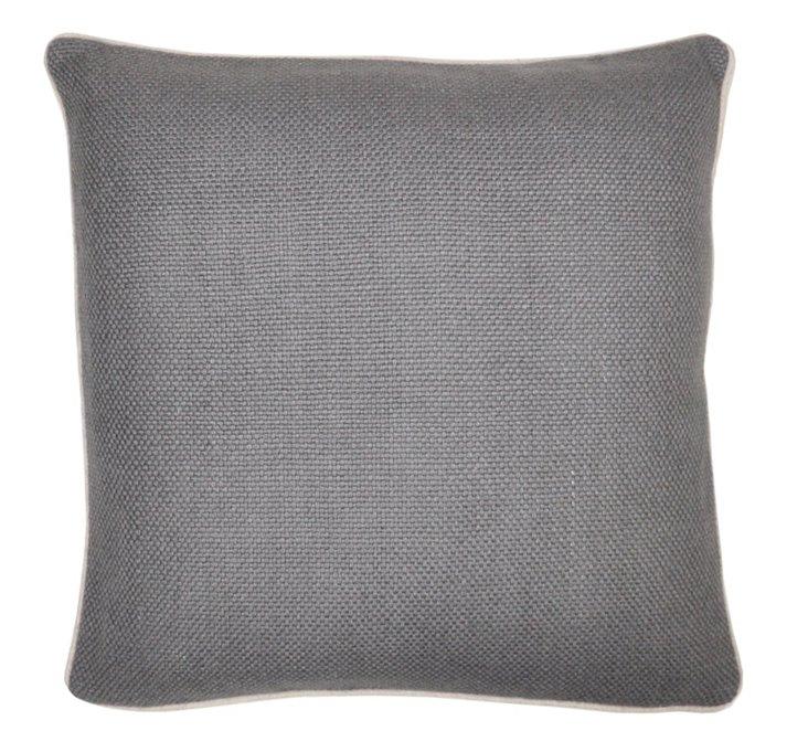 Piping 20x20 Linen Pillow, Gray