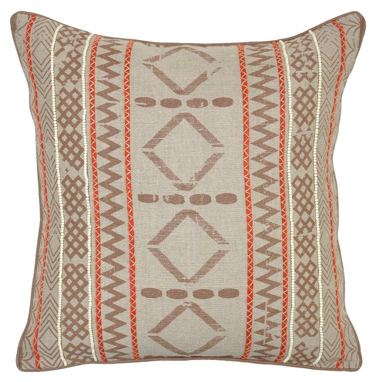 Congo 22x22 Linen Pillow, Brown