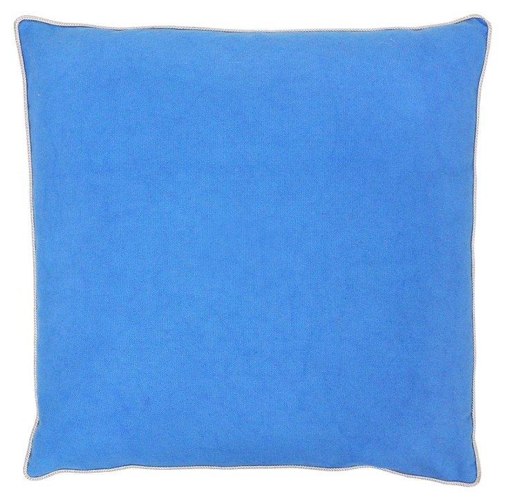 Solid  22x22 Linen Pillow, Blue