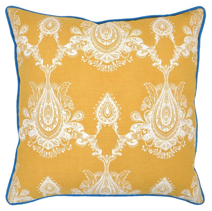 Margot 22x22 Cotton-Blend Pillow, Gold