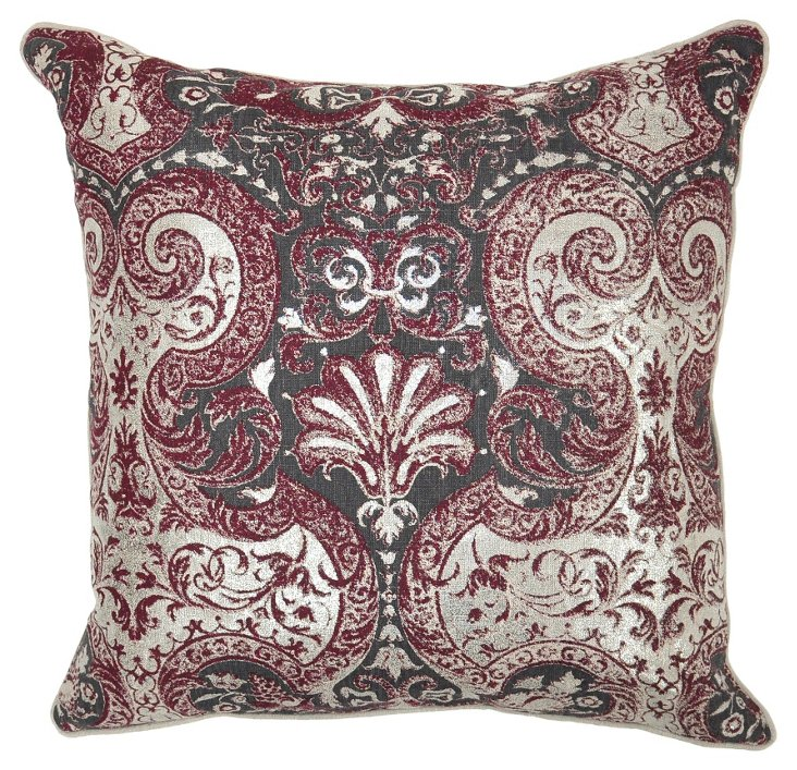 Lawrence 22x22 Linen Pillow, Burgundy