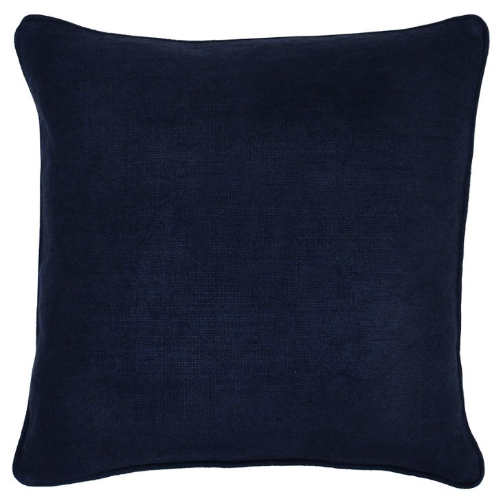 Solid 22x22 Linen Pillow, Navy