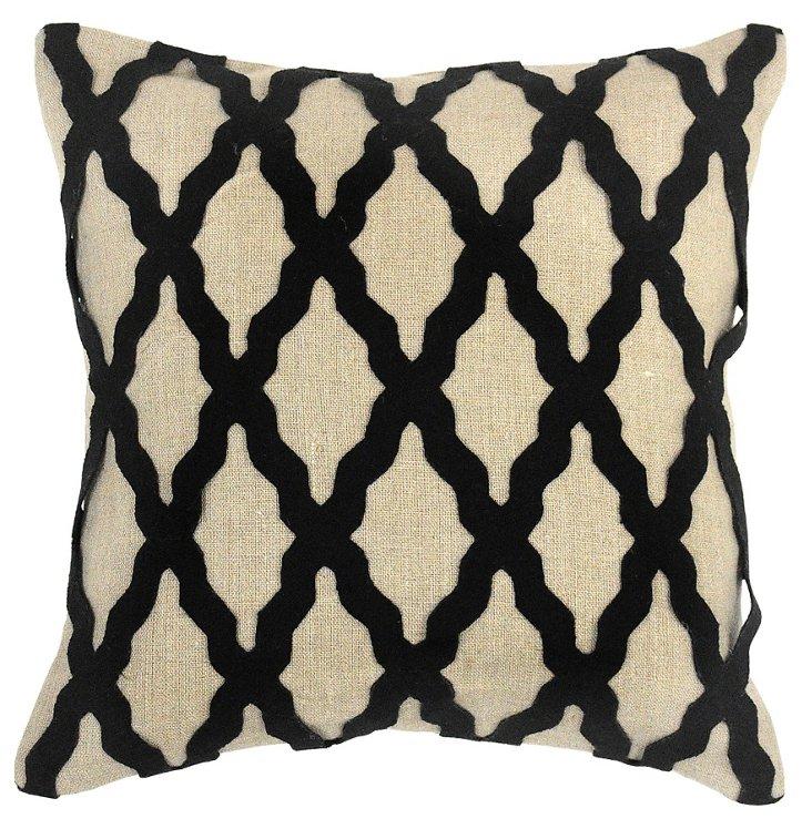 Lattice 18x18 Linen Pillow, Black