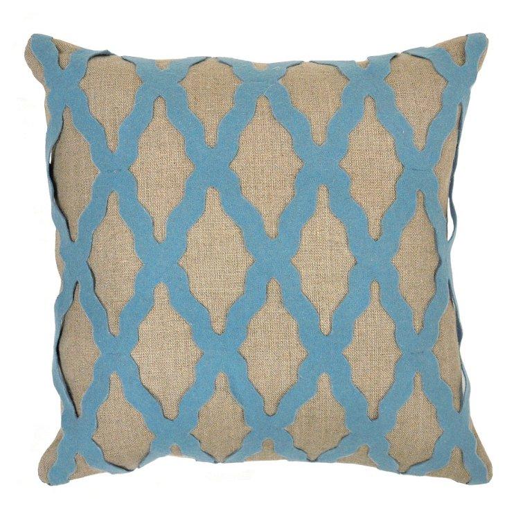 Moroccan 18x18 Linen Pillow, Blue