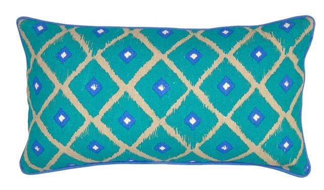 Ryo 14x26 Linen Pillow, Turquoise