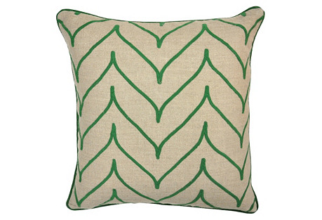 Mai 22x22 Linen Pillow, Green