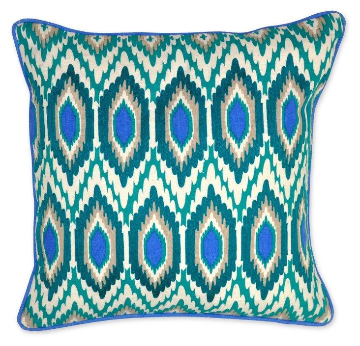 Bold 18x18 Linen Pillow, Turquoise