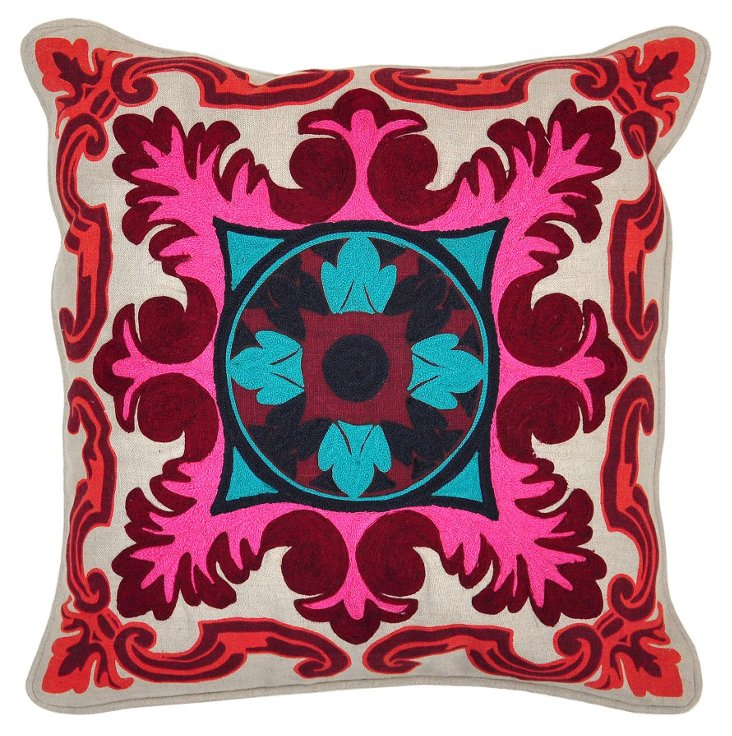 Messina 18x18 Linen Pillow, Pink