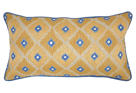 Ikat 14x26 Linen Pillow, Gold