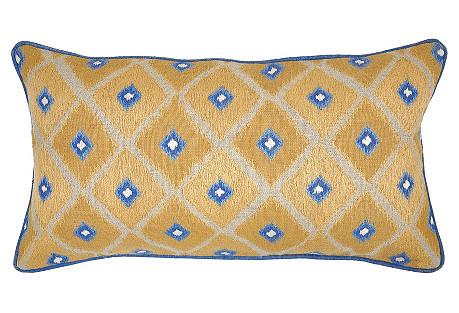 Ikat 14x26 Linen Pillow, Gold