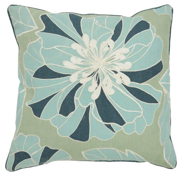 Bloom 22x22 Cotton Pillow, Green