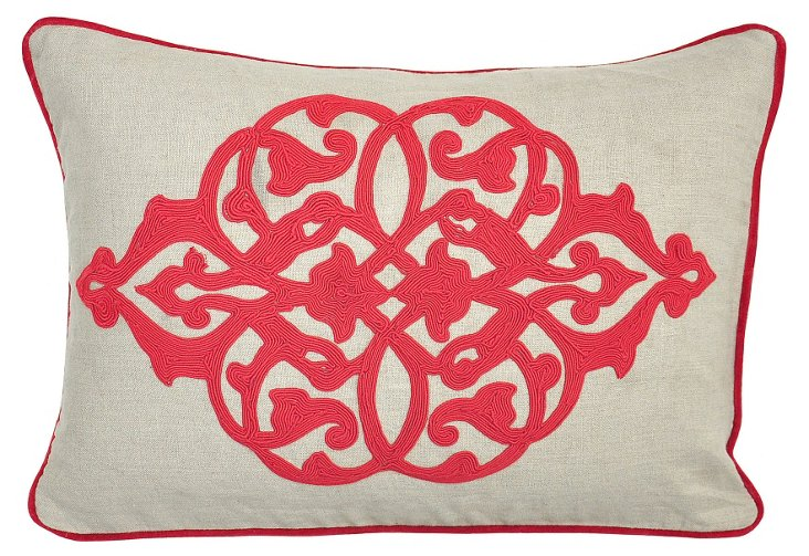 Motif 14x20 Embroidered Pillow, Red