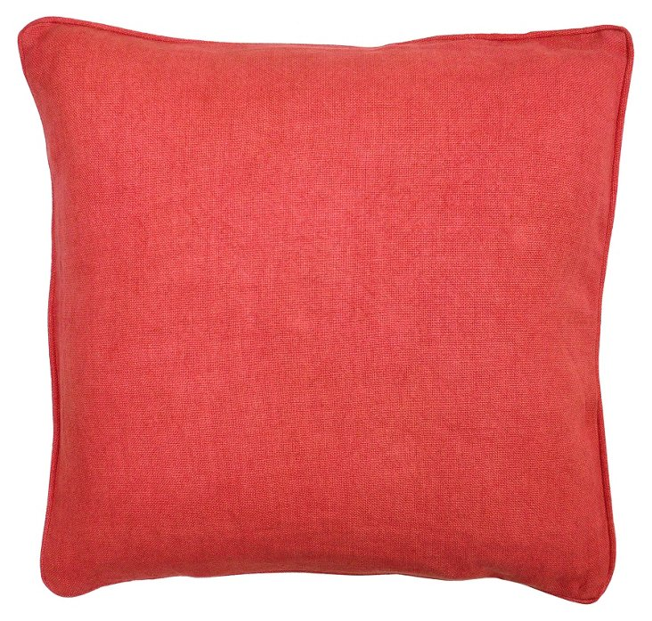 Solid 22x22 Linen Pillow, Red