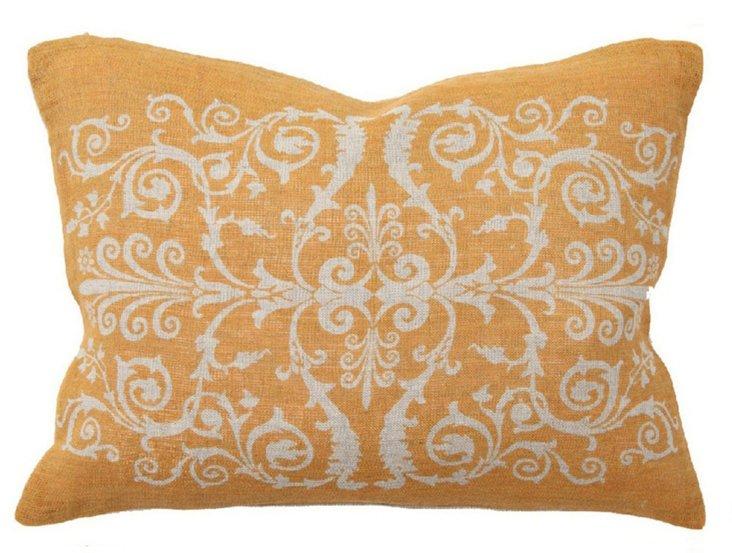 Scroll 12x16 Linen Pillow, Orange