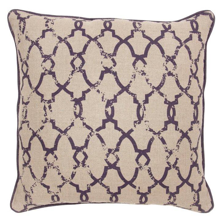 Caledonia 22x22 Cotton Pillow, Plum