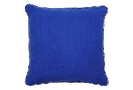 Vara 22x22 Cotton Pillow, Blue