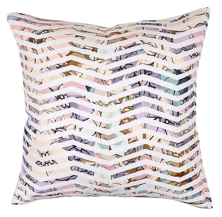 Chevron 22x22 Cotton Pillow, Multi