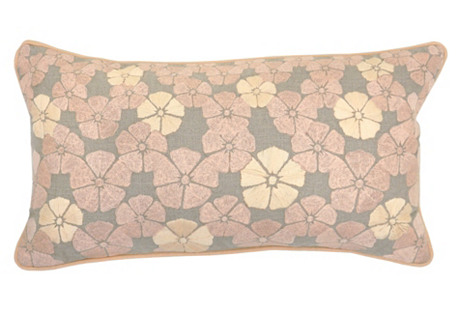 Floral 14x26 Embroidered Pillow, Blush
