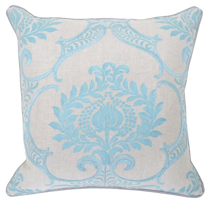 Damask 18x18 Embroidered Pillow, Blue