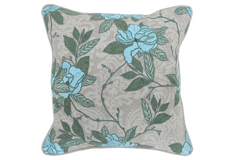 Opulent 22x22 Cotton Pillow, Blue