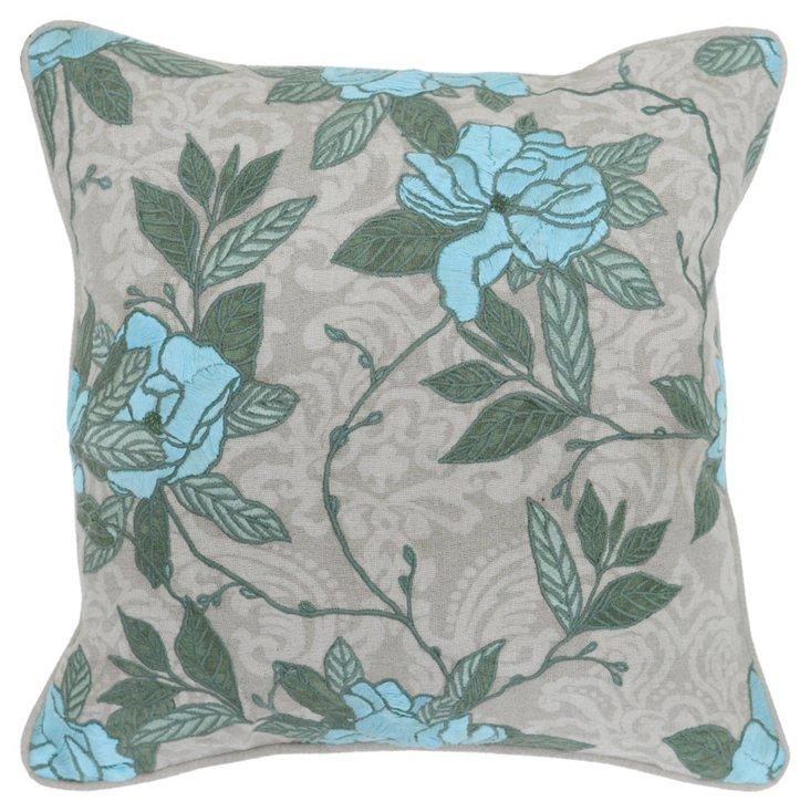 Opulent 22x22 Cotton Pillow, Blue