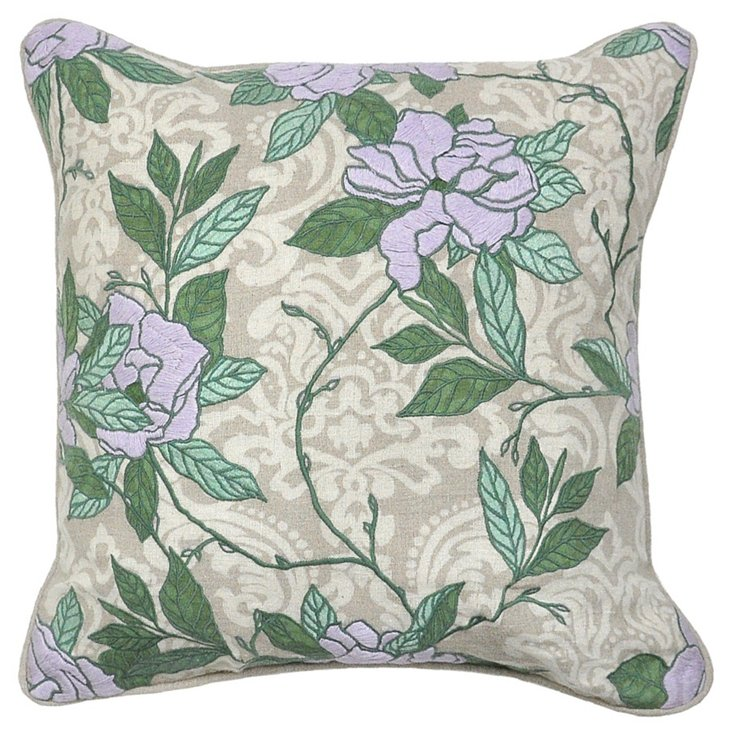 Opulent 22x22 Cotton Pillow, Lavender