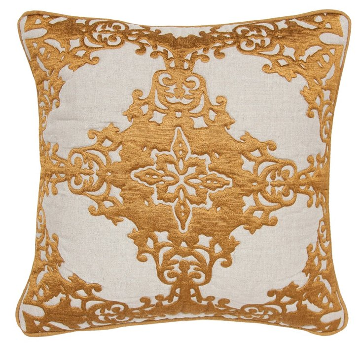 Elegance 18x18 Embroidered Pillow, Gold