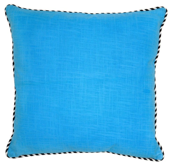 Piping 22x22 Cotton Pillow, Blue