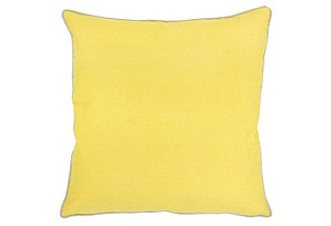 Sunny Side 22x22 Cotton Pillow, Yellow