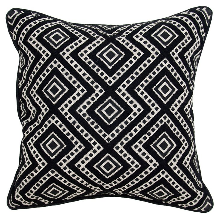Graphic 18x18 Cotton Pillow, Black