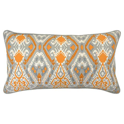 Ikat Spice 14x26 Cotton Pillow, Orange