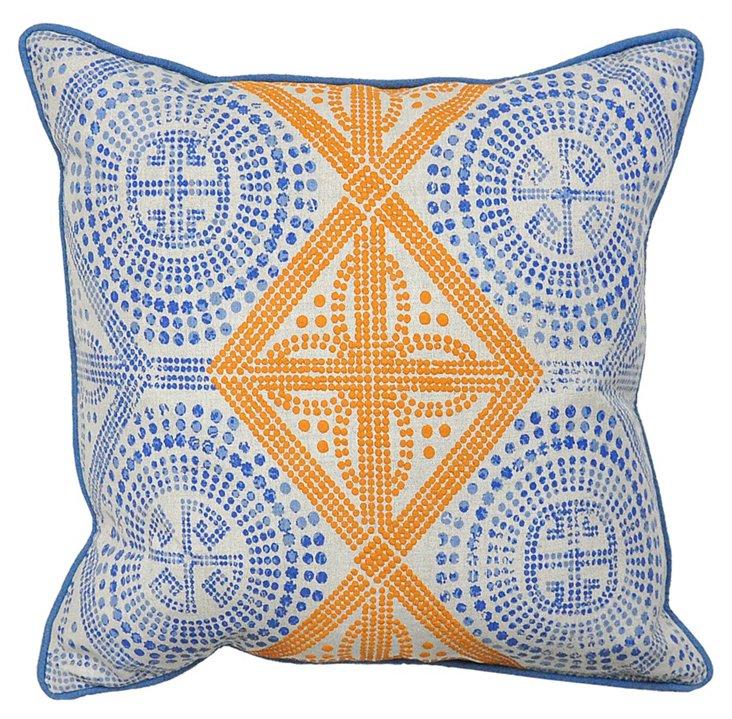 Global 18x18 Cotton Pillow, Blue