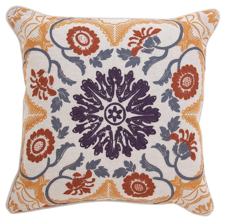 Centre 20x20 Embroidered Pillow, Multi