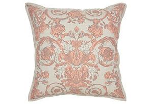 Aubry 22x22 Cotton Pillow, Pink