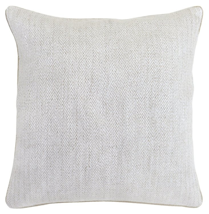 Herringbone 18x18 Cotton Pillow, Cream