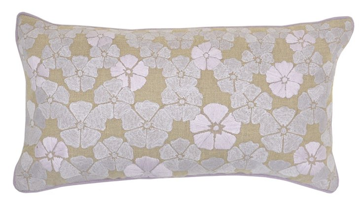 Floral 14x26 Embroidered Pillow, Multi