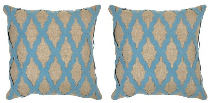 S/2 Karen 18x18 Linen Pillows, Blue