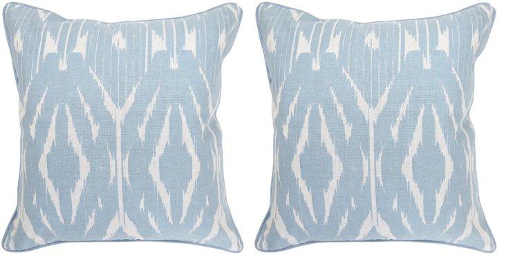 S/2 Ian 22x22 Cotton Pillows, Blue