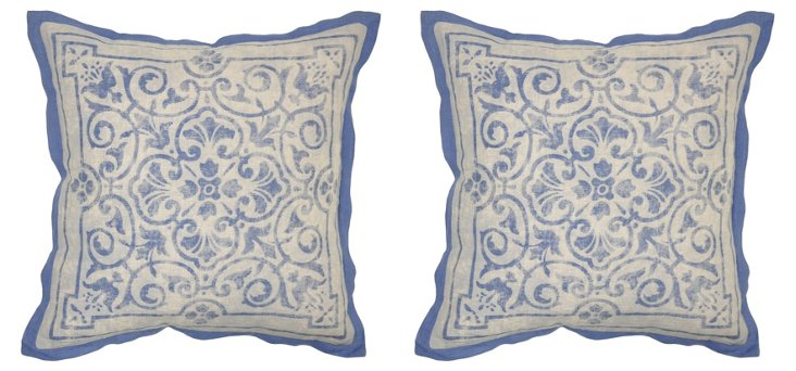 S/2 Tivoli 22x22 Linen Pillows, Blue