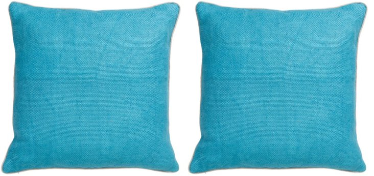 S/2 Hai 22x22 Cotton Pillows, Turquoise